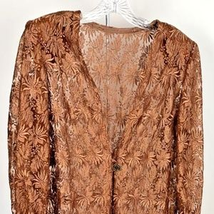 Womens Tunic  Brown Sheer Knit Floral V-Neck L